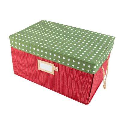 Red and Green Polka Dot 3 Tray Ornament Drawer Storage