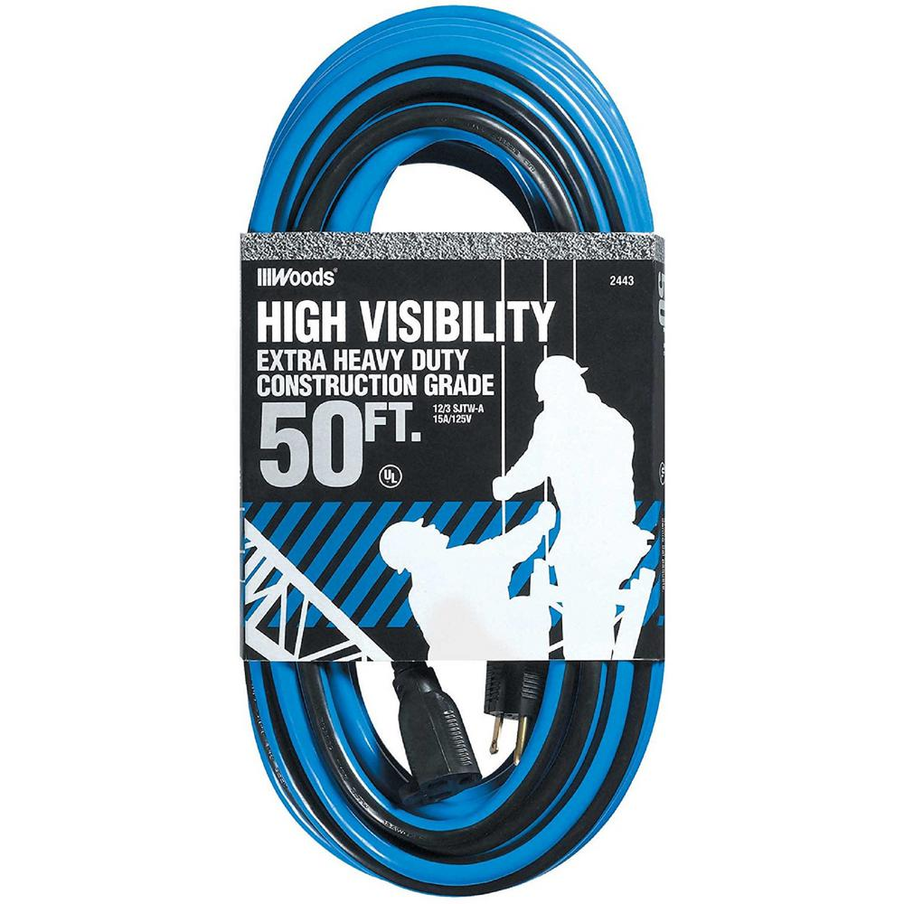 50 ft. 12/3 SJTW High Visibility Outdoor Extension Cord, Blue/Black