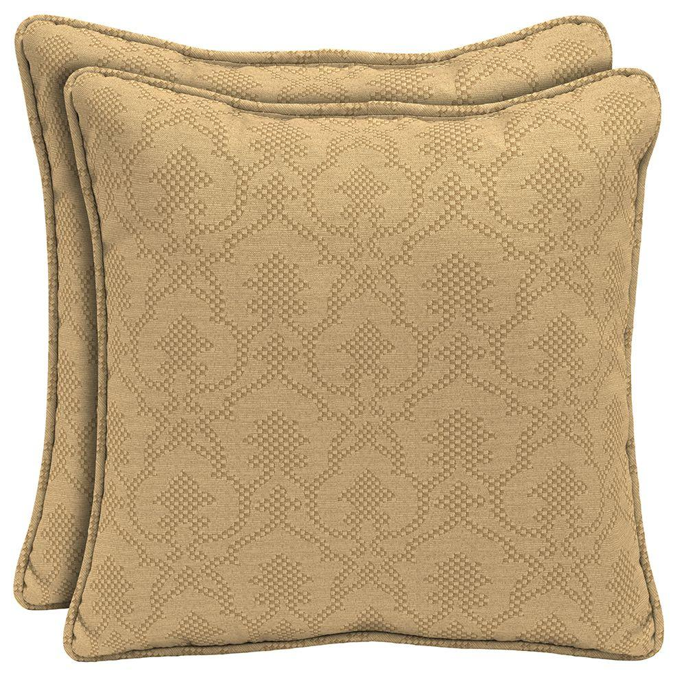 Hampton Bay Bellagio Square Outdoor Throw Pillow with Welt (2-Pack)