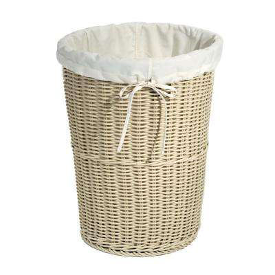 Wicker Weave Laundry Hamper Ivory