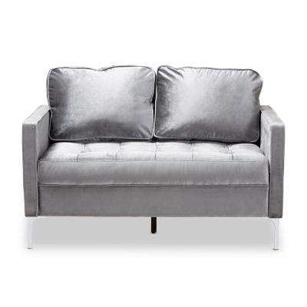 Astounding Clara Gray Fabric Loveseat Creativecarmelina Interior Chair Design Creativecarmelinacom
