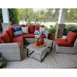 forsyth 5piece wicker outdoor sectional set with red cushions - Outdoor Sectionals