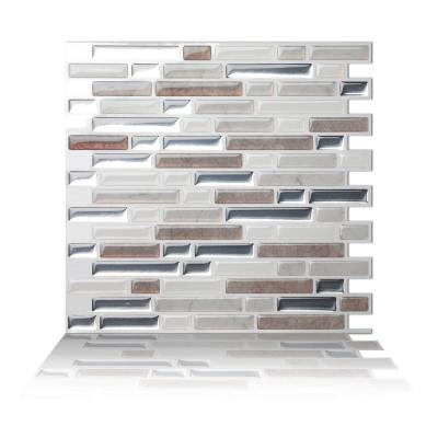 Como Pebble 10 in. W x 10 in. H Peel and Stick Self-Adhesive Decorative Mosaic Wall Tile Backsplash (5-Tiles)