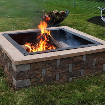 Heavy-Duty 36 in. x 10 in. Square Steel Wood Fire Pit Insert in Black
