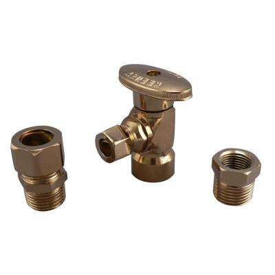 1/2 in. FIP x 3/8 in. OD Brass Quarter Turn Angle Valve in Polish Brass Lead Free