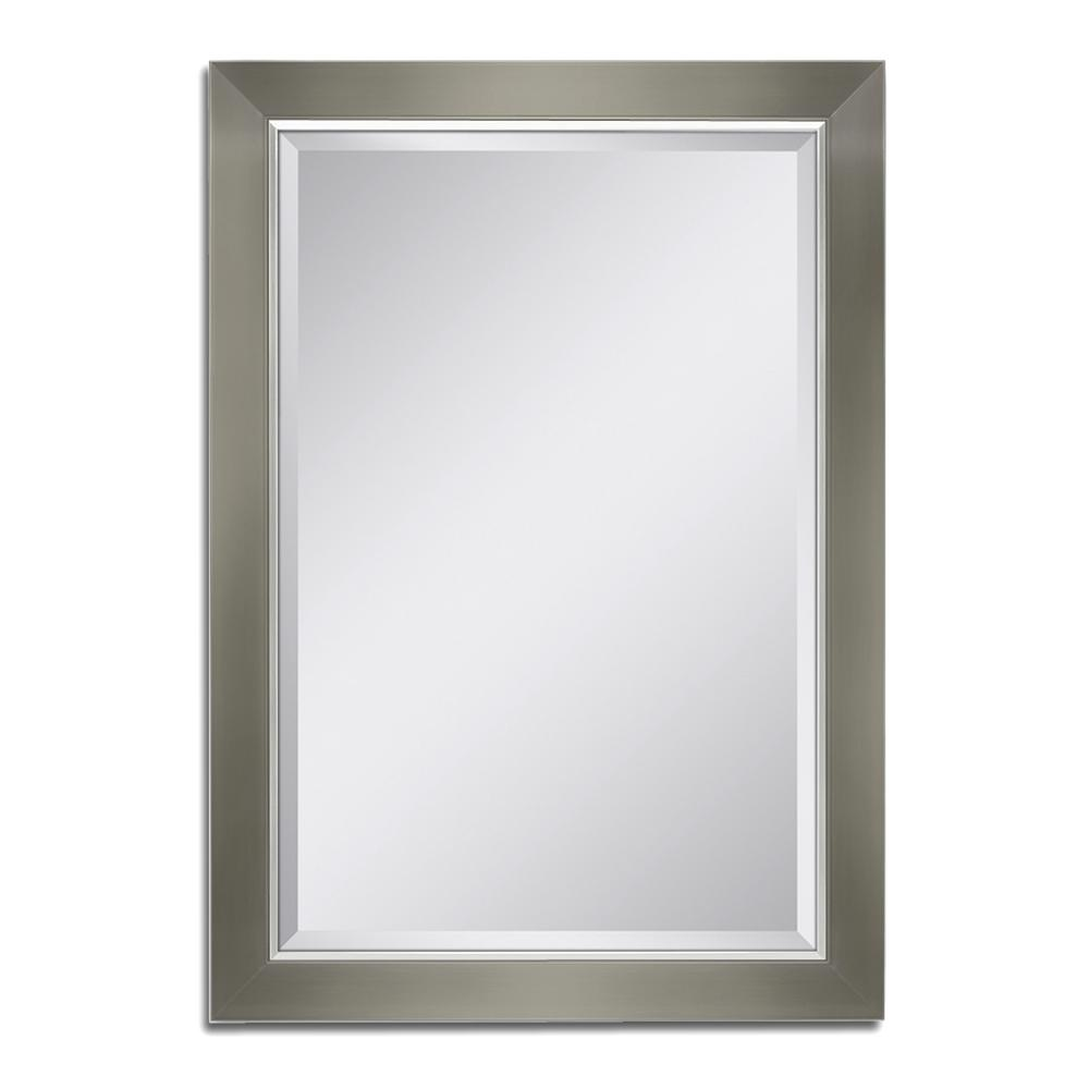 deco mirror 30 in w x 42 in h brush nickel with chrome liner wall mirror 8046 the home depot. Black Bedroom Furniture Sets. Home Design Ideas