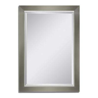 30 in. W x 42 in. H Brush Nickel with Chrome Liner Wall Mirror
