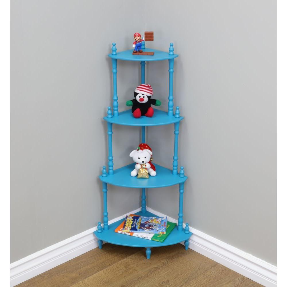 13.4 in. W x 13.4 in. D 4-Tier Decorative Shelf in Blue