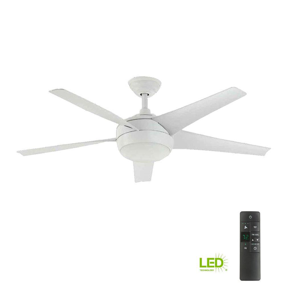 Home decorators collection windward iv 52 in led indoor matte white ceiling fan with light