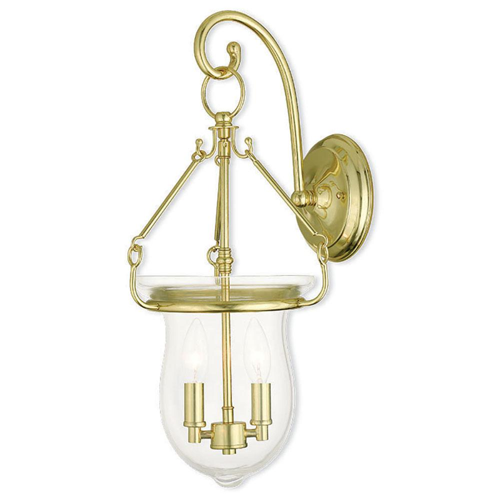 Livex Lighting Canterbury 2 Light Polished Brass Sconce 50292 02 The Home Depot