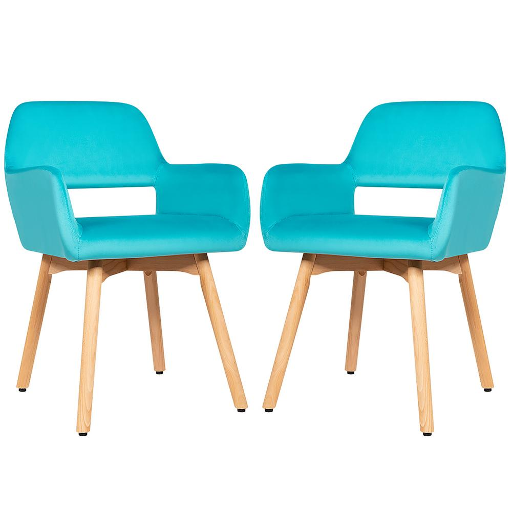 Modern Accent Armchairs Velvet Fabric Leisure Chairs in Blue(Set of 2)