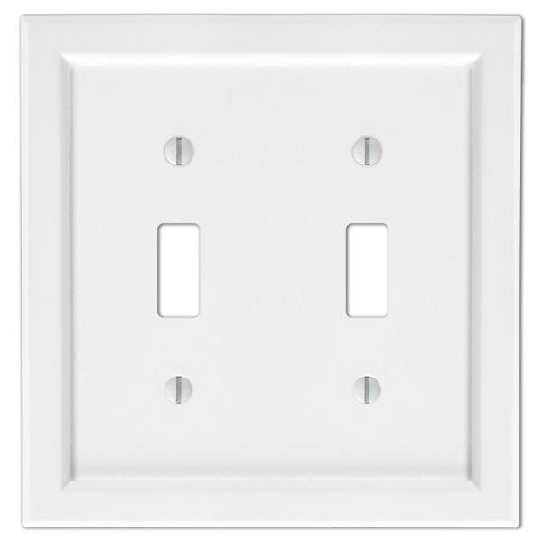 Woodmore 2 Gang Toggle Wood Wall Plate - White