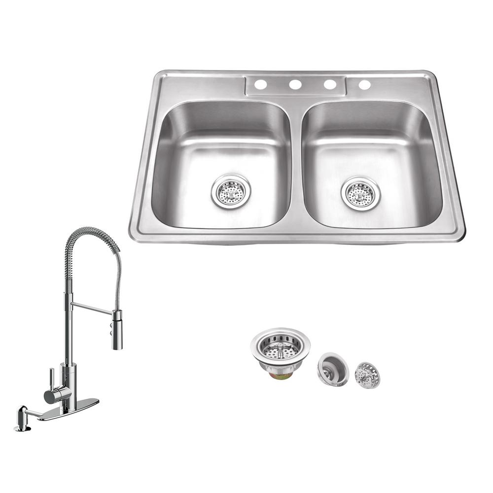 IPT Sink Company All-in-One Drop In Stainless Steel 33 in. 4-Hole 50 Under Kitchen Sink Plumbing Configurations on plumbing under house, plumbing under concrete slab, plumbing under sink wrench, plumbing under slab foundation, under a sink, plumbing under vanity sink, plumbing a sink garbage disposal and dishwasher, rough out plumbing for pedestal sink, plumbing under toilet, plumbing vent problems, plumbing under bathtub, replace plumbing under sink, plumbing under floor, plumbing under kitchen cabinets, plumbing under bathroom, hide pipes under bathroom sink,