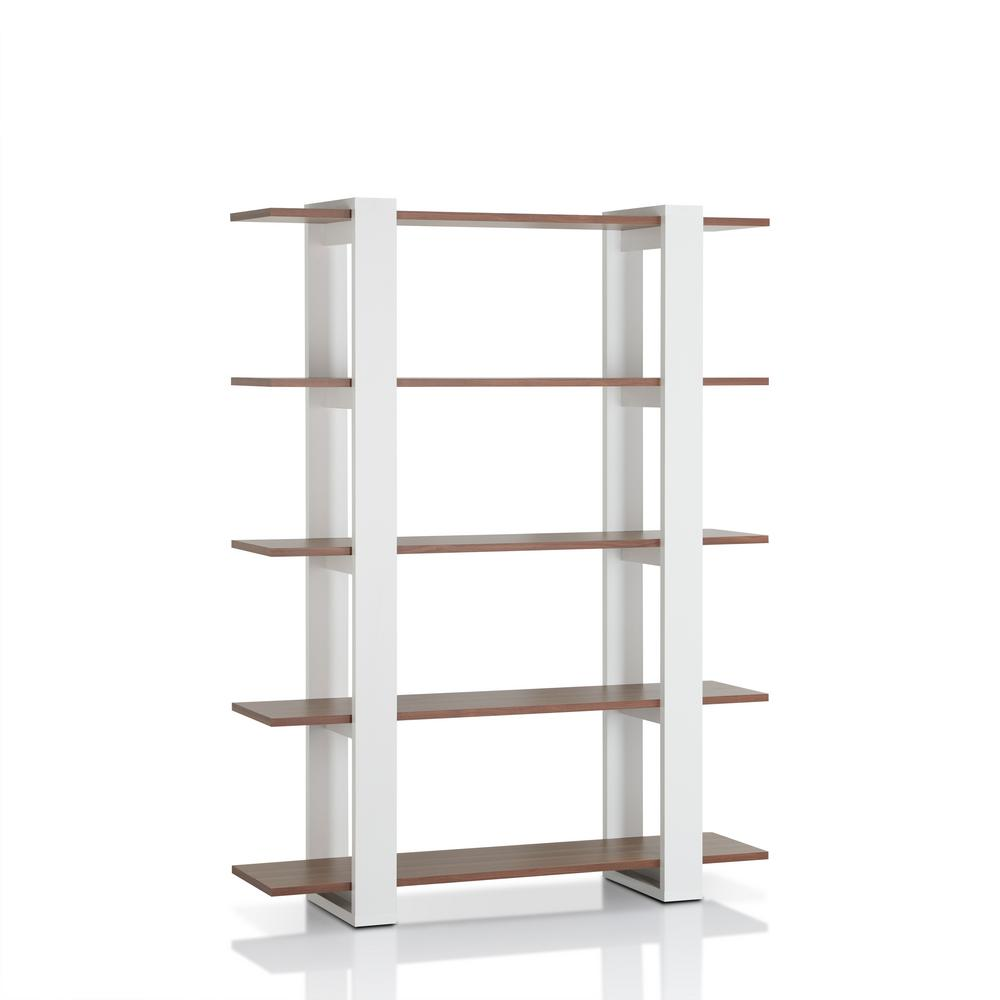 Corliving quadra 71 in tall white faux woodgrain bookcase for Furniture of america nara contemporary 6 shelf tiered open bookcase
