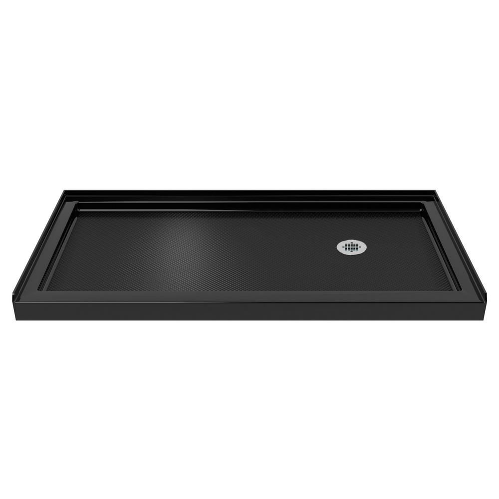 DreamLine SlimLine 32 in. D x 60 in. W Single Threshold Shower Base in Black with Right Hand Drain