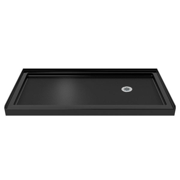 SlimLine 30 in. D x 60 in. W Single Threshold Shower Base in Black with Right Hand Drain