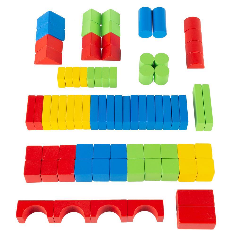 Superbe 80 Piece Classic Wooden Blocks Building Set With Storage Bag