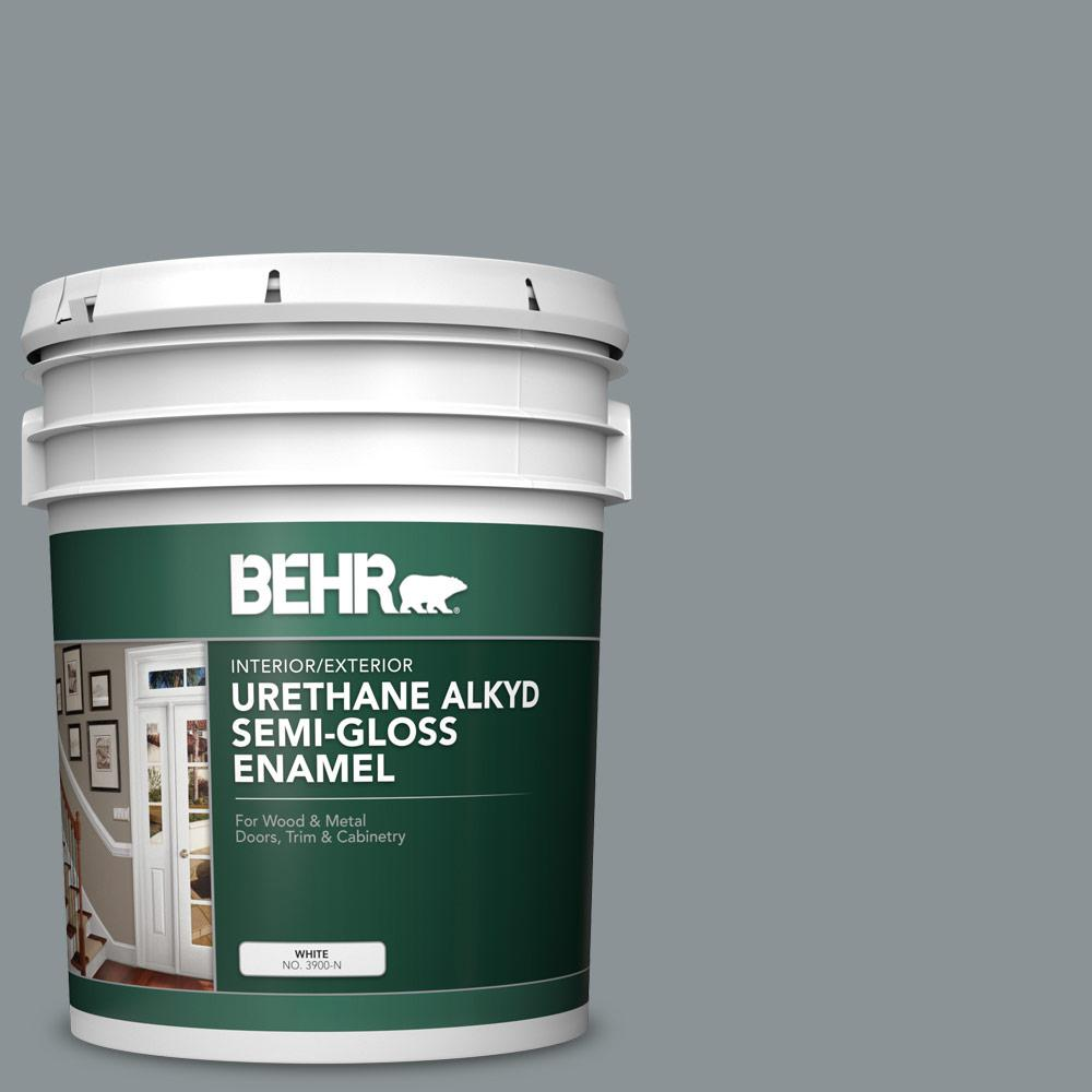 Behr 5 Gal Home Decorators Collection Hdc Nt 27 Millennium Silver Urethane Alkyd Semi Gloss Enamel Interior Exterior Paint 393005 The Home Depot