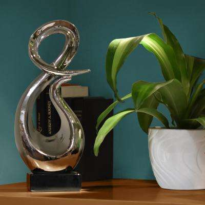 16 in. H Abstract Decorative Sculpture in Gray Polished Chrome Finish