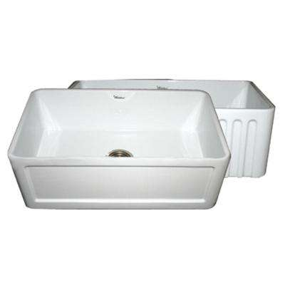 Reversible Farmhaus Series All-in-One Apron Front Fireclay 30 in. Single Bowl Kitchen Sink in White