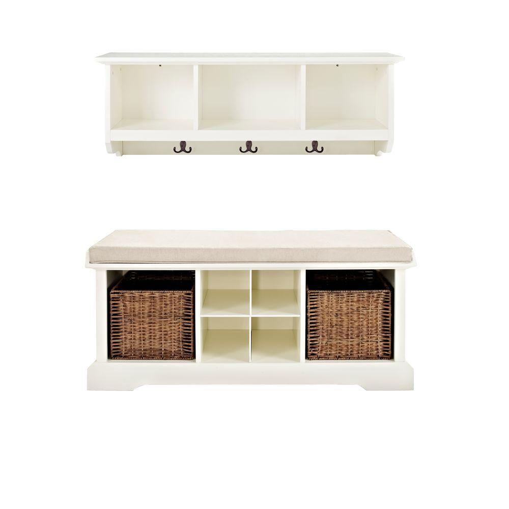 crosley brennan entryway bench with shelf set in white kf60001wh the home depot. Black Bedroom Furniture Sets. Home Design Ideas