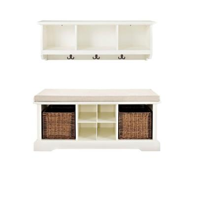 Brennan Entryway Bench with Shelf Set in White