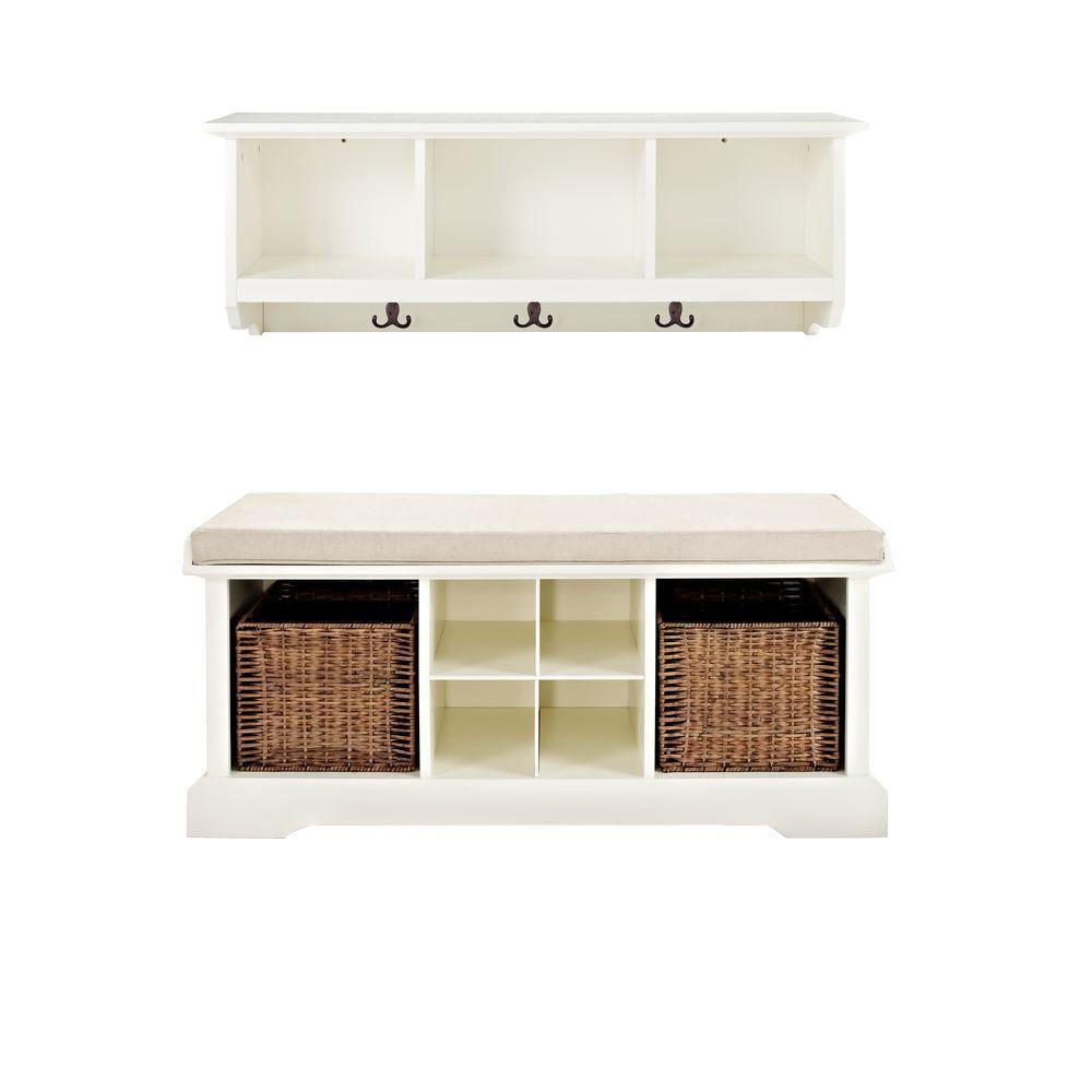 Brennan Entryway Bench with Shelf Set in White