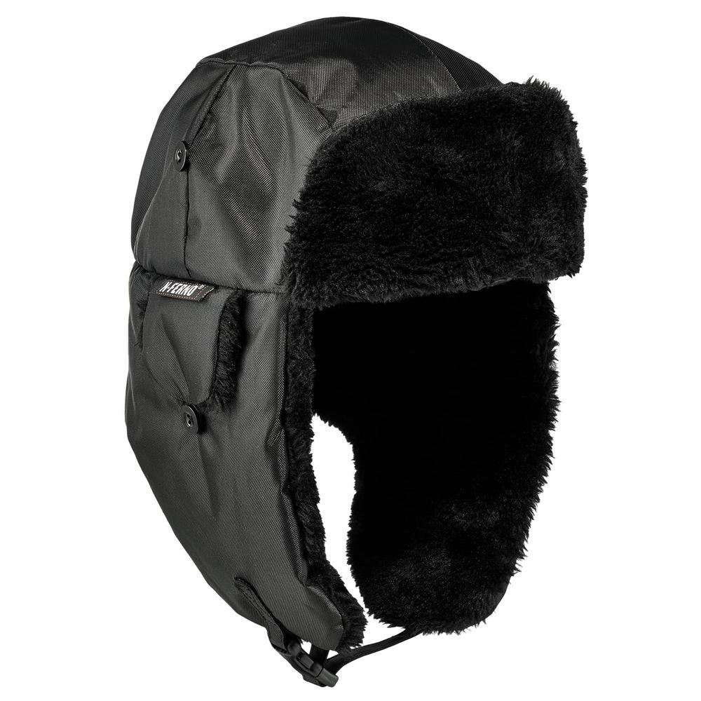 N-Ferno L/XL Black Zippered Trapper Hat