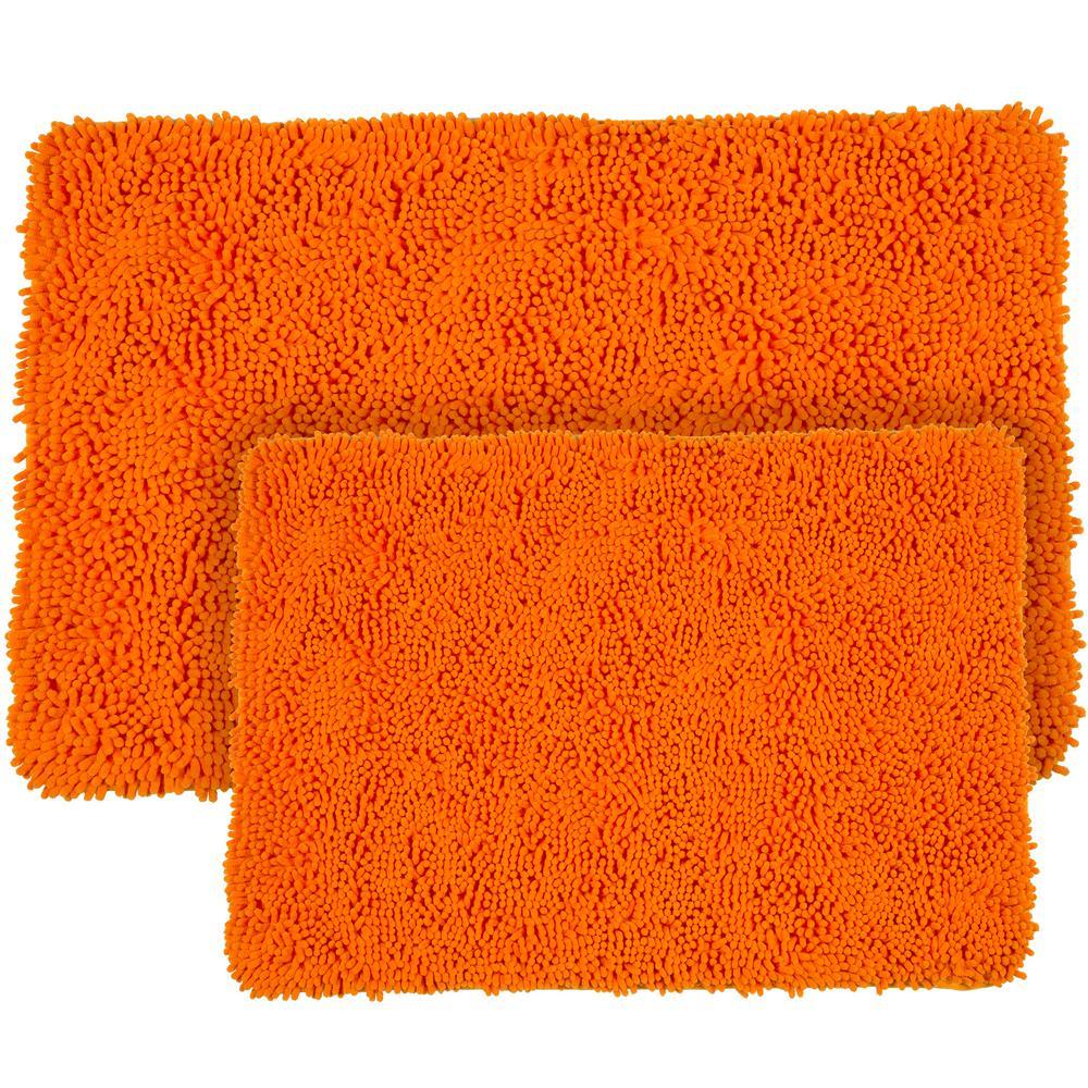 Shag Orange 21 in. x 32 in. Memory Foam 2-Piece Bath Mat Set