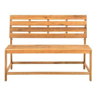 Ruben 2-Person Natural Wood Outdoor Bench