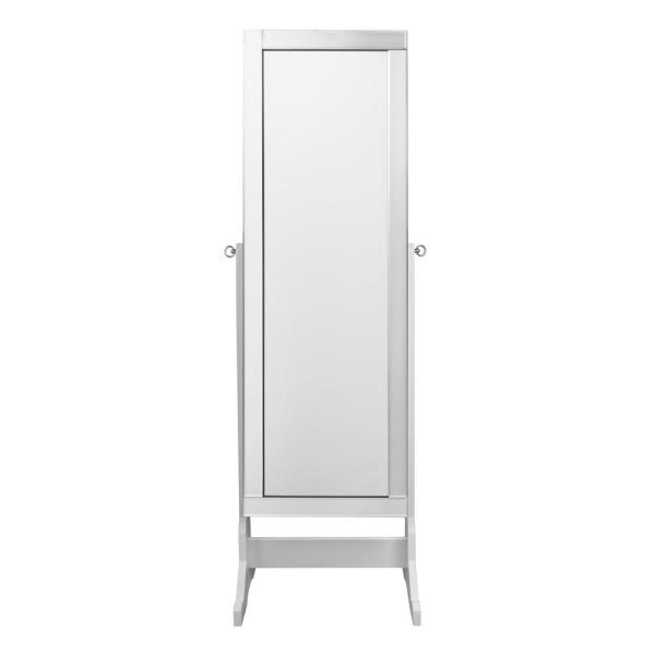 Inspired Home Adele Cheval Pristine White Floor Mirror Jewelry Armoire with