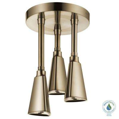 Zura Pendant 1-Spray 9 in. Showerhead with H2Okinetic Spray in Champagne Bronze