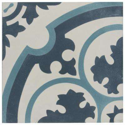 Cemento Queen Mary Sky Encaustic 7-7/8 in. x 7-7/8 in. Cement Handmade Floor and Wall Tile