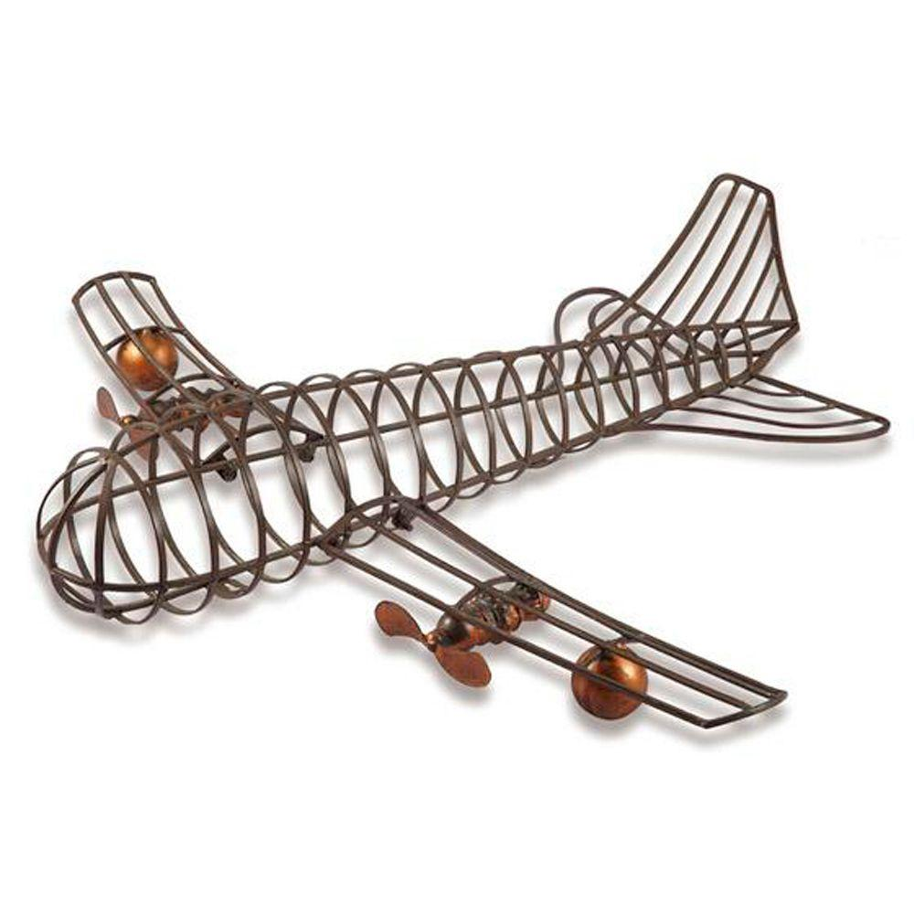Home Decorators Collection 32 in. H x 27 in. W Brown Airplane Wall Decor