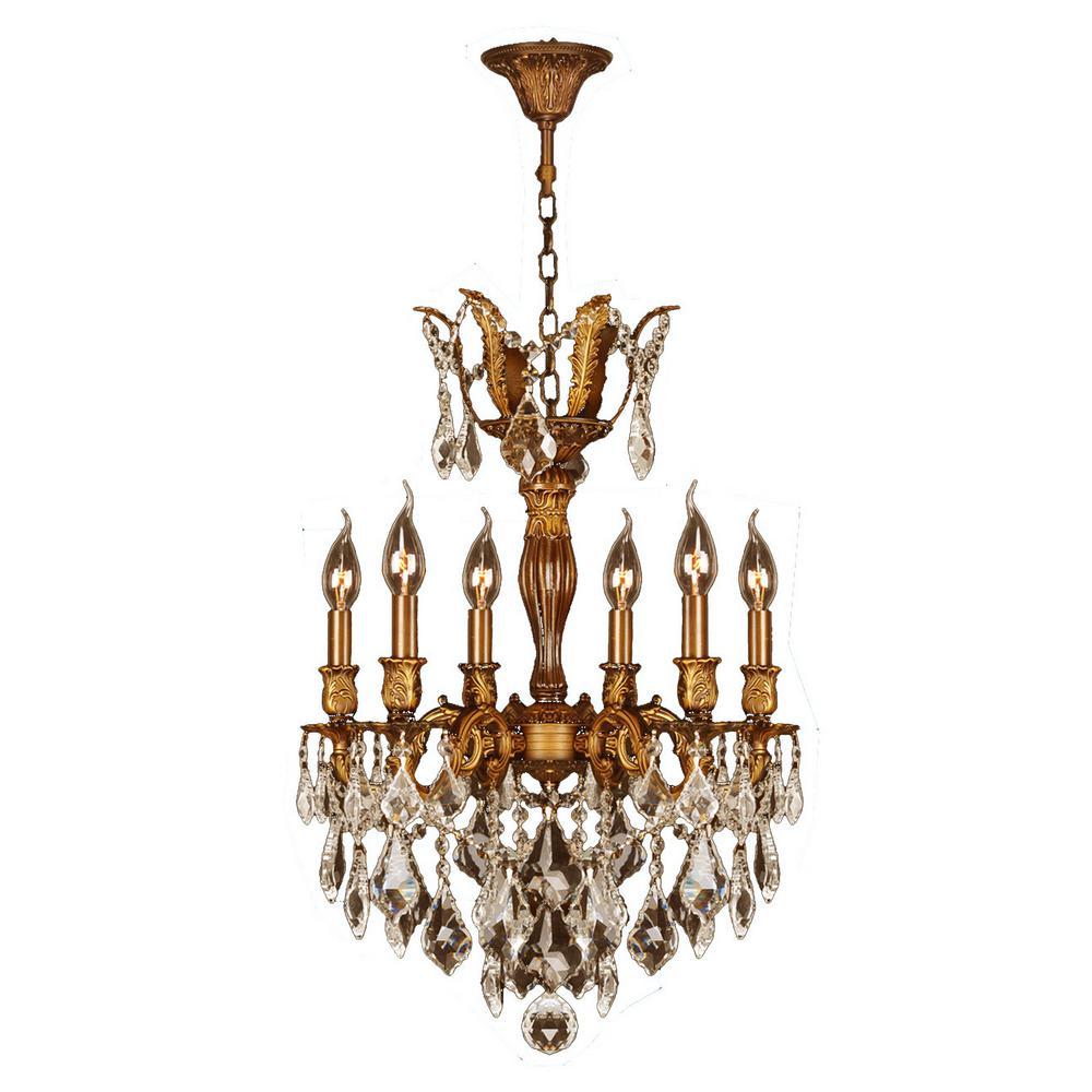 Versailles 6-Light French Gold Chandelier with Golden Teak Crystal