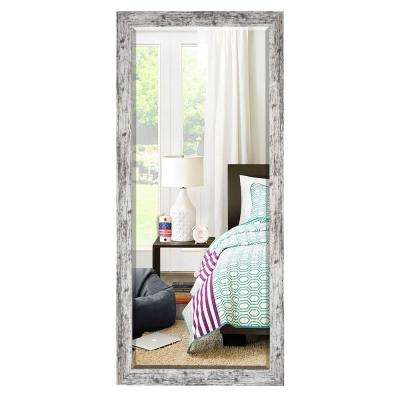 71 in. x 30.5 in. Weathered White Farmhouse Beveled Mirror