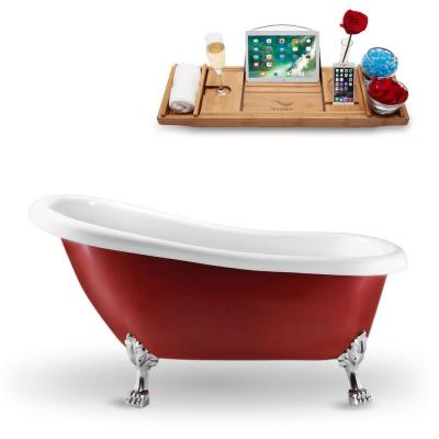 61 in. Acrylic Fiberglass Clawfoot Non-Whirlpool Bathtub in Red