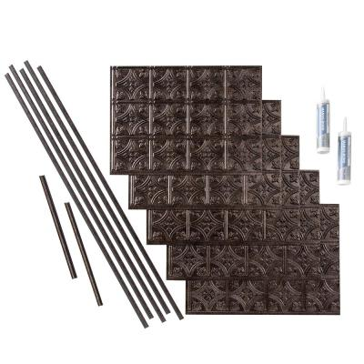 Traditional 1 18 in. x 24 in. Smoked Pewter Vinyl Decorative Wall Tile Backsplash 15 sq. ft. Kit
