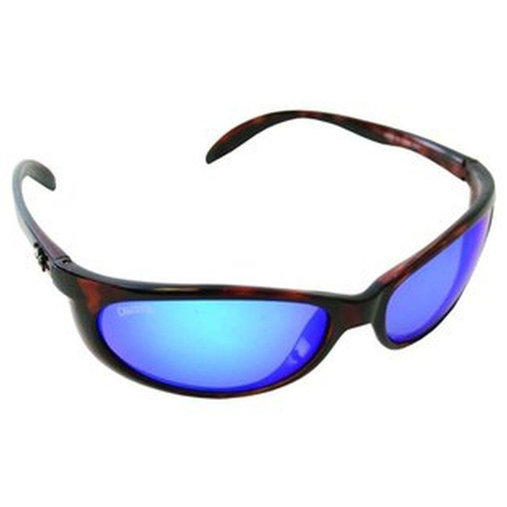 Tortoise Frame Smoker Sunglasses with Blue Mirror Lenses