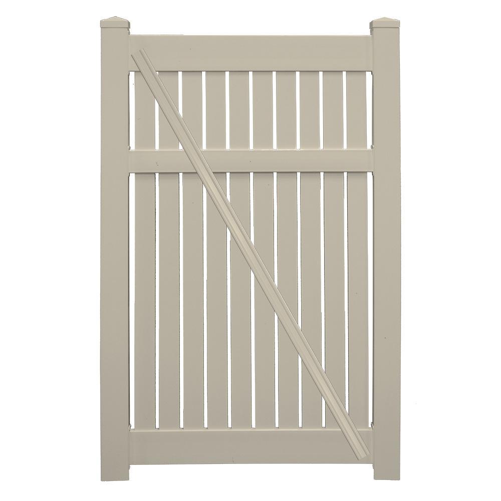 Weatherables Huntington 3.8 ft. x 6 ft. Khaki Vinyl Semi-Privacy Fence Gate Kit