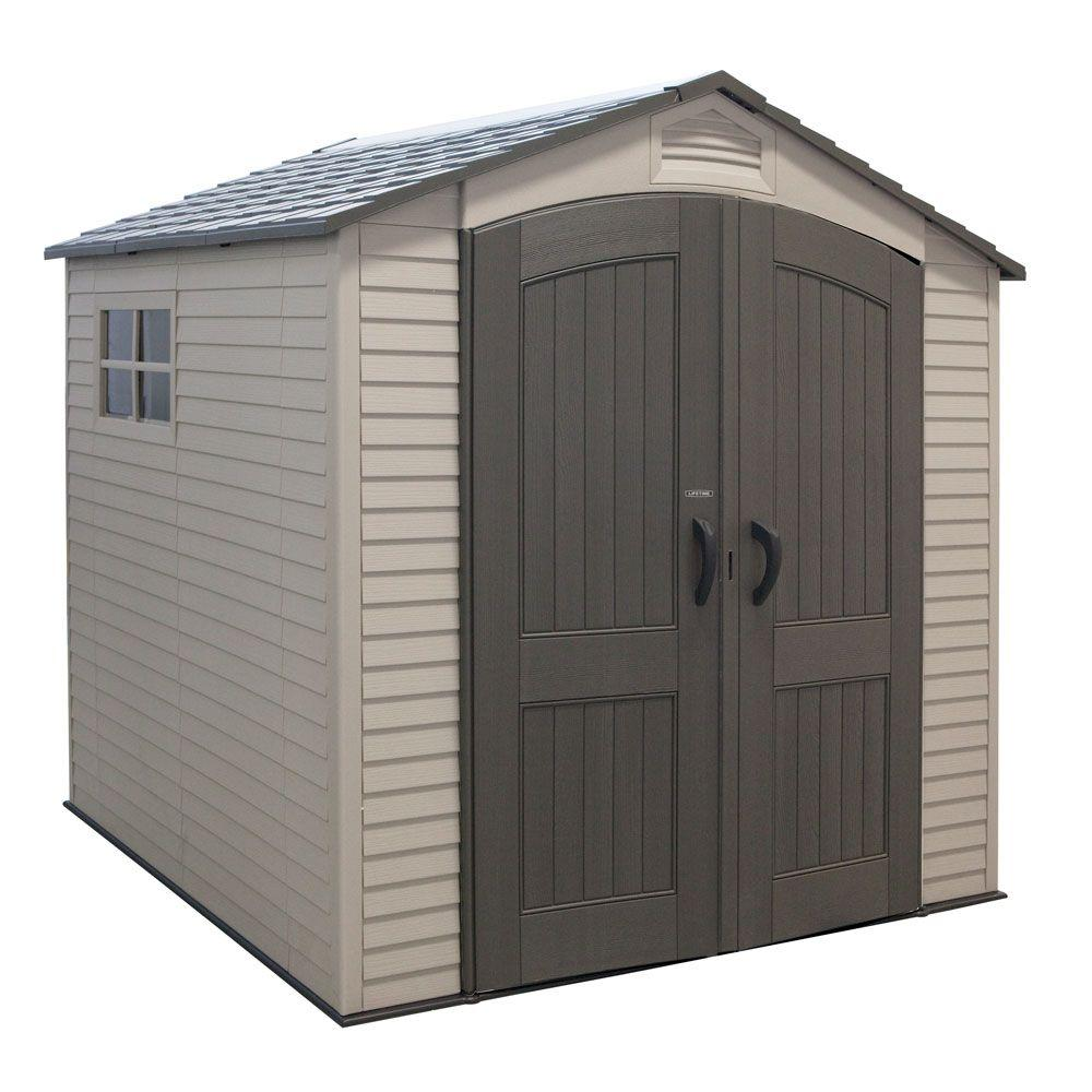 Lifetime 7 ft. x 7 ft. Outdoor Storage Shed, Browns/Tans