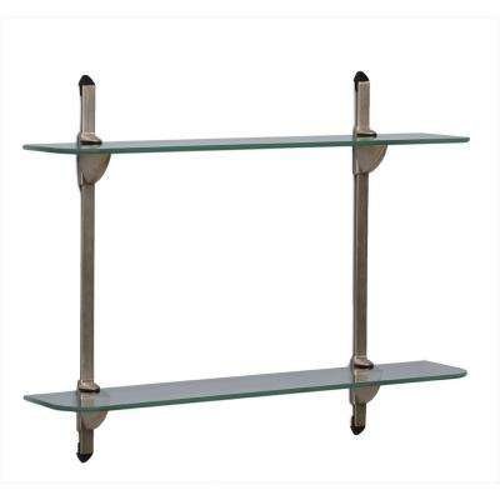5 in. x 24 in. Satin Nickel Standards and Brackets Glass Decorative Shelf Kit