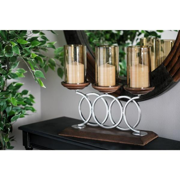 Brown Mango Wood and Smoked Beige Glass 3-Light Hurricane Candle Holder