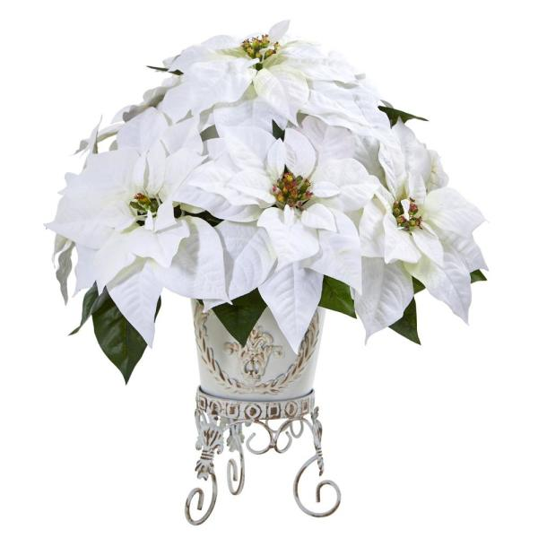 20in. Poinsettia Artificial Arrangement in Metal Planter