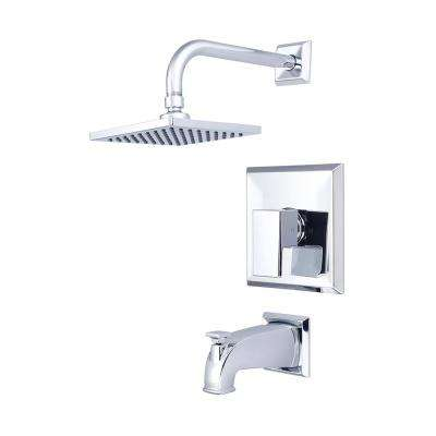 Mod 1-Handle Tub and Shower Trim Kit in Polished Chrome with 6 in. Square Showerhead (Valve Not Included)