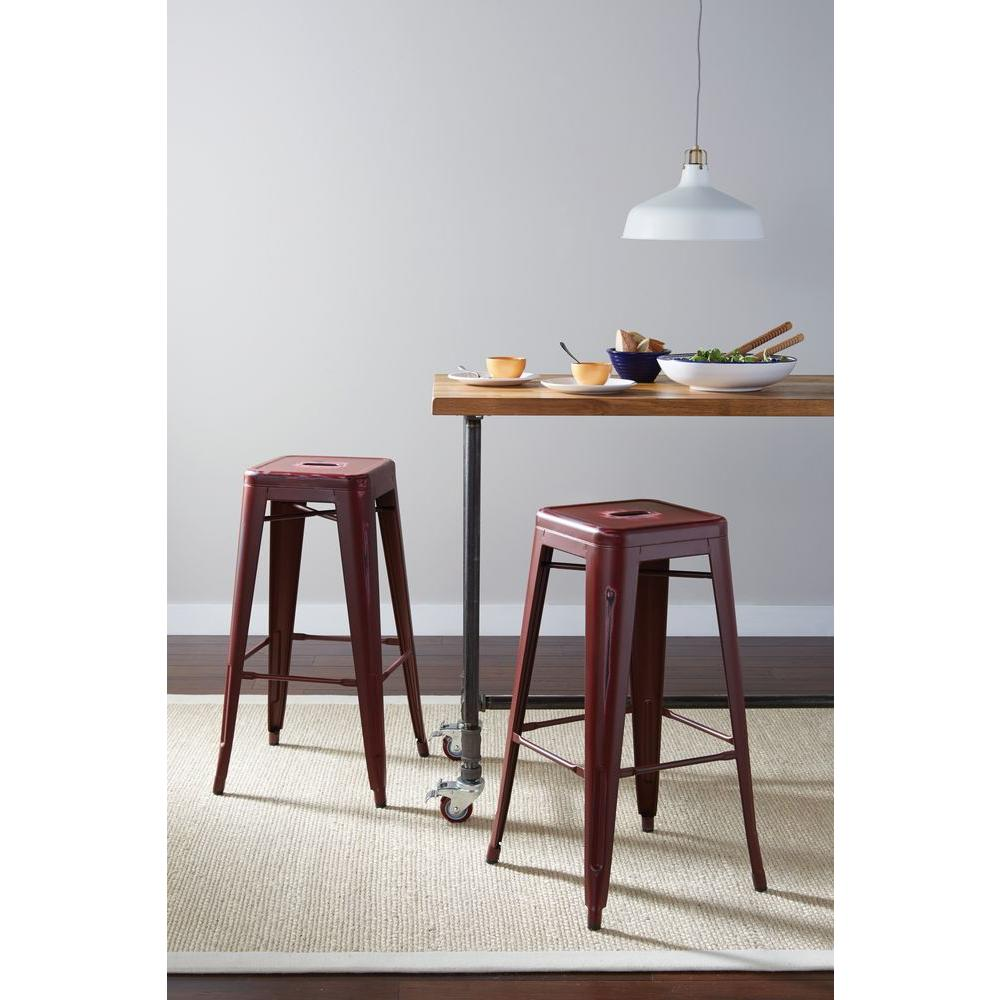 OSP Home Furnishings Bristow 30.25 in. Antique Red Bar Stool (Set of 4) OSP Home Furnishings Bristow 30.25 in. Antique Red Bar Stool (Set of 4)