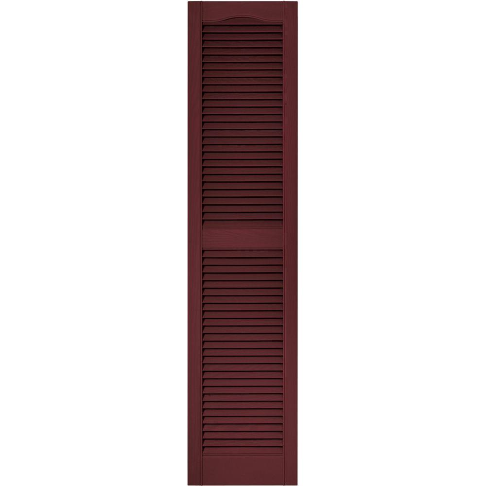 Builders Edge 15 in. x 64 in. Louvered Vinyl Exterior Shutters Pair in #078 Wineberry