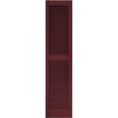 15 in. x 64 in. Louvered Vinyl Exterior Shutters Pair in #078 Wineberry