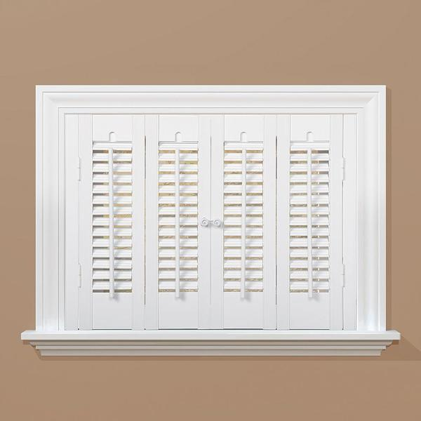 White 1-1/4 in. Traditional Faux Wood Interior Shutter 39 to 41 in. W x 20 in. L