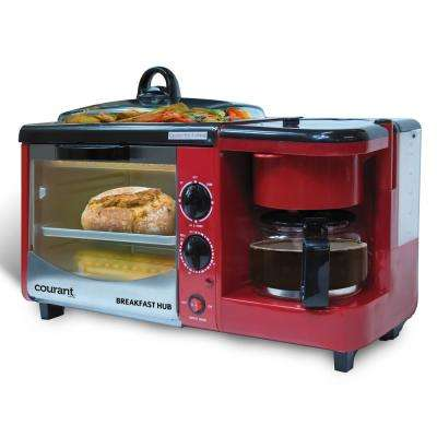 Red 3 in 1 Breakfast Center Toaster Oven